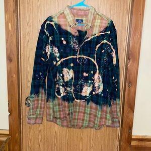 Boutique bleached flannel button down shirt